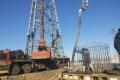 Устройство свайного фундамента при строительство опоры №90  г. Комсомольск-на-Амуре
